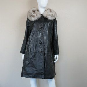 Vintage Annshire Leather Coat with Fur Collar